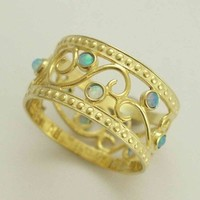 Yellow gold opals band Shades of spring by artisanimpact on Etsy