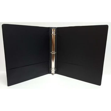 "1"" Basic 3-Ring Binder w/ Two Inside Pockets - Black"
