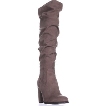 madden girl Cinder Knee-High Slouch Boots, Dark Taupe, 9 US