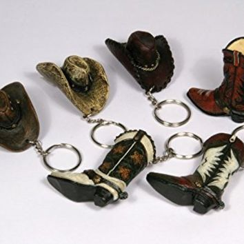 COWBOY BOOT OR HAT KEY CHAIN (Take your choice). Made of durable poly resin - these miniature western boots and hats feature great detail and are hand painted. Ideal For The Cowboy or Cowgirl