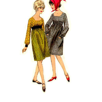 Butterick 60s Sewing Pattern Mad Men Style Dress Empire Waist Long Sleeve Square Neckline Retro Mod Fashion Bust 32