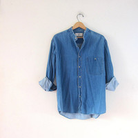 vintage jean shirt. denim pocket shirt. collarless boyfriend shirt.