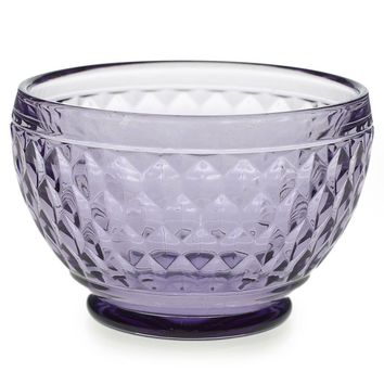 "Small Purple Rosalie Glass Centerpiece Bowl - 3"" Tall x 4.5"" Wide"