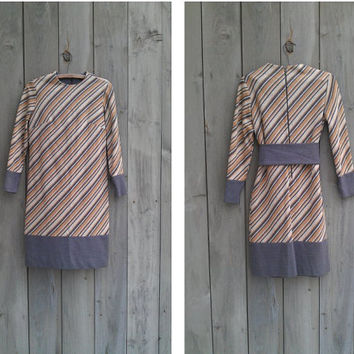Vintage dress - Gray and gold bias stripe shift