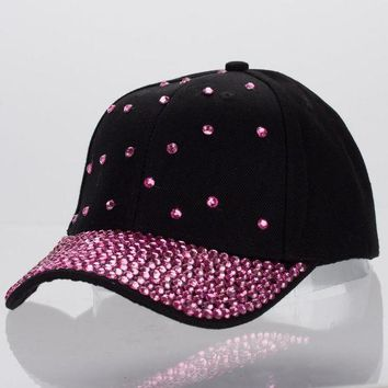 CREYCI7 women luxury cap customized design jet fuchsia crystal beads beauty curved baseball caps girl woman brand casual snapback hats