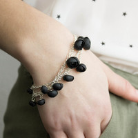 Black Bracelet Chains flowers ranunculus hand decoration girls accessory mothers day gifts birthday gifts for mums
