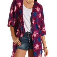 Crochet-Back Printed Kimono Cardigan by Charlotte Russe