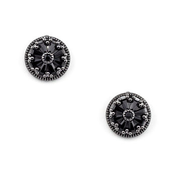 Circle Black Stud Earrings