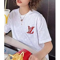 LV Louis Vuitton Summer Newest Women Men Logo Print Round Collar T-Shirt Top