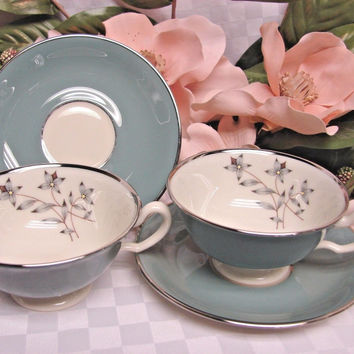 Lenox Ivory China Dinnerware Kingsley Patt # X445 set 2 cup & saucer