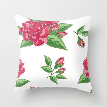 Shabby Chic Red Roses White Background Decor Throw Pillow by Cabinet Of Pretty Things