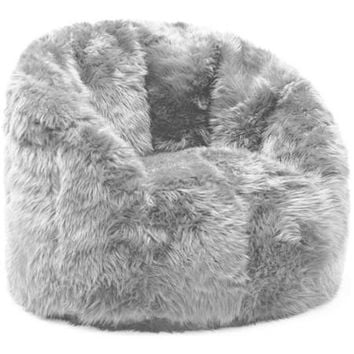 BeanSack Big Joe Milano Faux Fur Bean Bag Chair Grey Faux Fur - Walmart.com