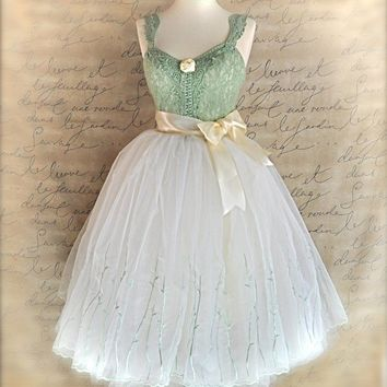 Waltz Fantasy Spring mint green vine embroidered by TutusChic