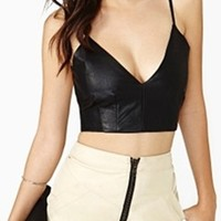 Olivaceous Black Faux Leather Plunge V Crop Top Open Bustier Bra Sleeveless