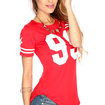 Cute Sporty Red Number Print Short Sleeves Jersey Top