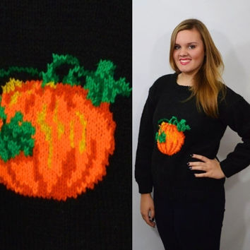 90s Pumpkin Sweater Halloween Soft Grunge Witch Hipster Fall Autumn Vintage Womens Clothing Large Oversize Cute Chunky Knit Black Jumper