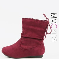 Kids Lace Up Back Faux Suede Booties