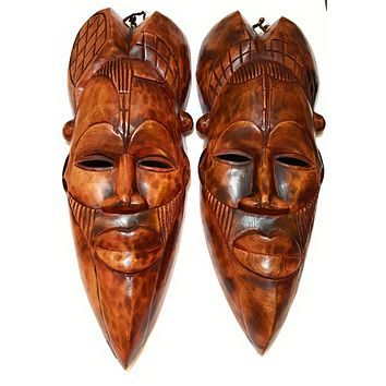 "18"" African Wood Mask: Brown"
