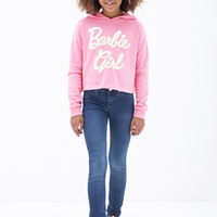 FOREVER 21 GIRLS Barbie Girl Graphic Hoodie (Kids) Pink/Cream