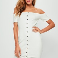 Missguided - Cream Studded Popper Detail Bardot Bodycon Dress