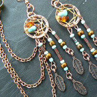 turquoise and copper dreamcatcher chained ear cuff SET turquoise czech beads cuff in boho gypsy hippie hipster native and tribal fusion