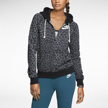 Nike Rally Full-Zip Cheetah Women's Hoodie - Black