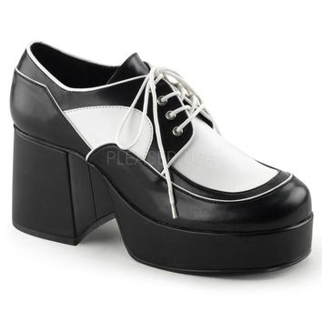 Pleaser Male 3 1/2 Inch Block Heel, 1 1/2 Inch Platform Two Tone Oxford Shoe JAZZ04