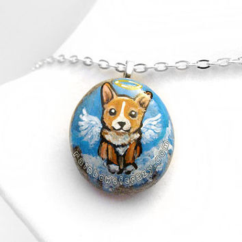 Corgi Necklace, Dog Memorial Pendant, Hand Painted Stone, Angel Jewelry, Natural Beach Rock, Pet Loss Accessory, Blue Sky Painting