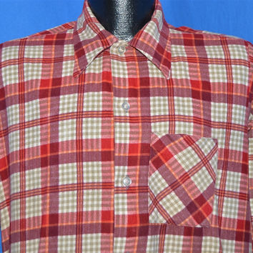 60s Prest Rite Red White Gray Plaid Flannel Shirt Medium