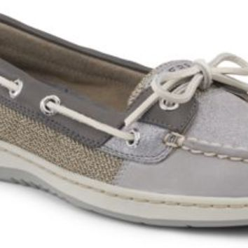 Sperry Top-Sider Angelfish Sparkle Suede 2-Eye Boat Shoe CharcoalSparkleSuede, Size 5.5M  Women's Shoes