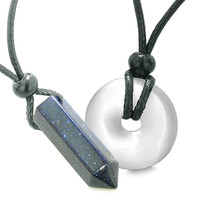 Yin Yang Powers His Hers Love Couples Crystal Point Lucky Donut Goldstone White Cats Eye Amulet Necklaces