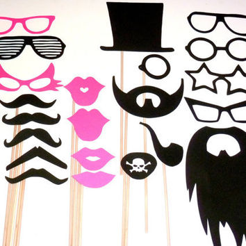 DIY YOU GLUE 22 pc Mustache Moustache Gender Reveal Little Man Bash Photo Prop Photobooth Photo Booth Props Made to Order