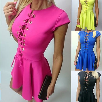 Slim Hollow Tie Sleeveless Pure Color O-neck Short Dress