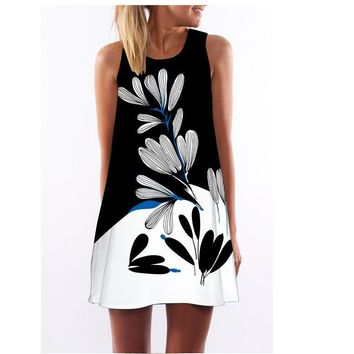Sleeveless Hot Sale Print Round-neck One Piece Dress [2070460039222]