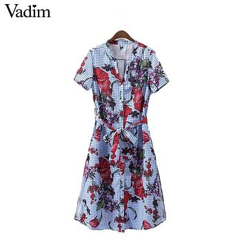 Vadim women floral plaid shirt dress sashes short sleeve v neck vintage split summer casual mid-calf dresses vestidos QZ3018
