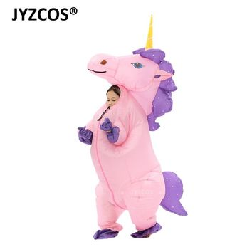 JYZCOS 2018 New Kids Boy Girl Inflatable Unicorn Costume Animal Themed Blow Up Suit Halloween Cosplay Costume Fancy Dress Outfit