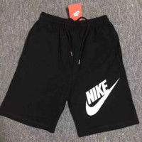 NIKE 2018 summer sports fitness breathable cotton training cropped trousers F0514-1 black+white letters