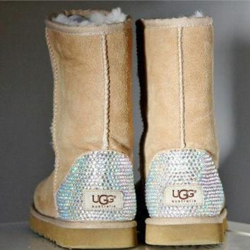 DCCK8X2 Toddler, Little Kid, and Youth UGG Sheepskin Boots with Swarovski Crystal Embellishmen