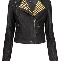 Gold Studded Clean Biker Jacket