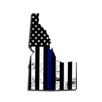 Idaho Distressed Subdued US Flag Thin Blue Line/Thin Red Line/Thin Green Line Sticker. Support Police/Firefighters/Military