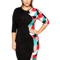 Geo Print Half Sleeve Bodycon Mini Dress