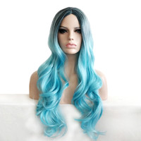 synthetic hair wigs heat resistant black root wig ombre blue