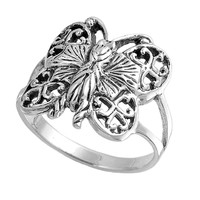 925 Sterling Silver Butterfly 17MM Ring
