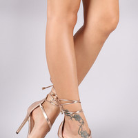 Liliana Metallic Leather Lace-Up Clear Band Open Toe Heel | UrbanOG