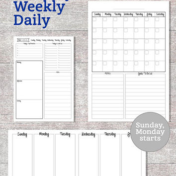 Monthly-Weekly-Daily Planner PRINTABLE A3-A4-A5 formats, To Do List, Life Organizer