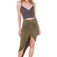 Life's A Beach Wrapped Olive Green Asymmetrical Midi Skirt