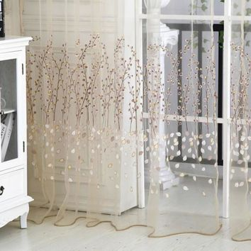 1*2.7M New Hot Floral Sheer Tulle Voile Door Curtain Window Living Room Drape Panel Scarf Valance
