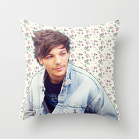 Louis Tomlinson; Floral Throw Pillow by Valerie Hoffmann | Society6