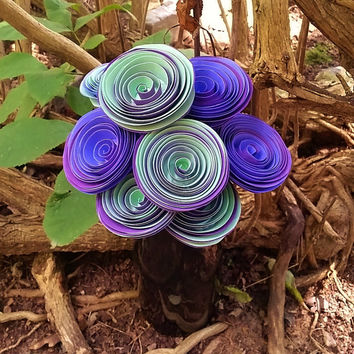 Paper Flower Bouquet - 8 Two-Tone Paper Flowers in Mint, Indigo and Purple - Handmade Paper Flowers for Brides, Weddings, Showers, Birthdays