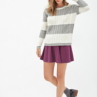 FOREVER 21 Striped Cable Knit Sweater Cream/Grey